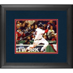"""Dustin Pedroia Boston Red Sox Fanatics Authentic Framed Autographed 8"""" x 10"""" 2013 World Series Champions Logo Hitting Photograph - $231.99"""