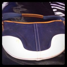 Coach Navy Blue Fabric, White Leather Demi Purse