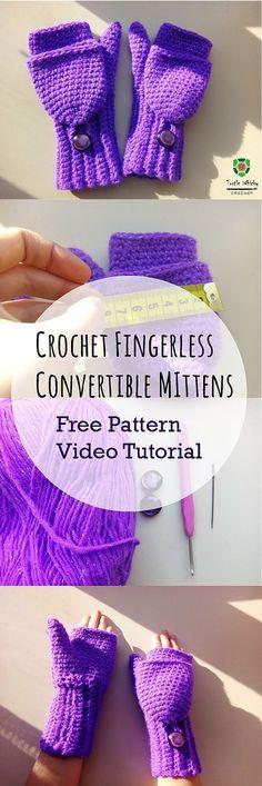 Crochet Fingerless Convertible Mittens | Turtle Whicky Crochet | Home