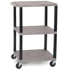"""Luxor WT42GYE Gray 18"""" x 24"""" Tuffy Utility and Audio / Visual Cart. The Luxor WT42GYE 18"""" x 24"""" Tuffy Multi use audio & visual utility cart provides an excellent option for businesses, offices, shops, schools, and more for carrying, holding, and displaying any equipment your organization needs. The WT42GYE Tuffy multi-functional cart provides an easy utility solution for businesses needing to carry printers, laminators, binding machines, supplies, and other equipment."""