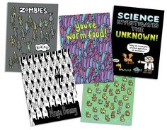 New A5 Notebooks featuring some of our most awesome designs! available from www.genkigear.com