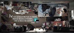Fondation abbé Pierre campagne sur le mal logement, image coup de poing, réalisme, taille d'échelle