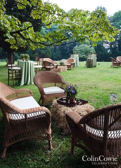 For cocktails, the yard is furnished with wicker furniture, and bales of hay are transformed into country-chic coffee tables.