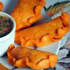 Colombian empanadas with Colombian hot sauce.