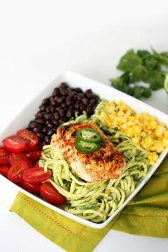 Fish Taco Zucchini Noodle Bowl with Avocado Cilantro Dressing