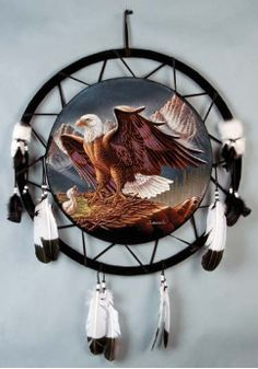 """Native American Mandala - Hand-Painted Eagle 24""""-for the """"Indian room"""""""