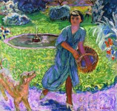 Pierre Bonnard - Girl Playing with a Dog 1913