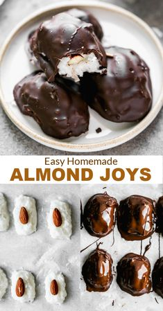 You wont believe how easy it is to make homemade Almond Joys using six simple ingredients, including coconut, marshmallows, almonds and chocolate. via @betrfromscratch Best Dessert Recipes, Candy Recipes, My Recipes, Delicious Desserts, Yummy Food, Candy Cookies, Almond Joy, Pie Dessert, Christmas Sweets