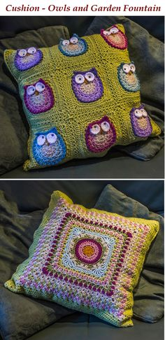 Crochet - double-sided cushion using owls from Owl Obsession (https://www.craftsy.com/crocheting/patterns/owl-obsession/132587) and Fountain of Roses by Shan Sevcik (http://www.ravelry.com/patterns/library/fountain-of-roses-12-square)