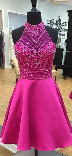 Modern Round Neck Illusion Back Short Rose Pink Prom/Homecoming Dress With Beading Rhinestone Slay Bridal Popular Dresses, Short Prom, Homecoming Dresses, Hoco Dresses, Prom Gowns, Evening Dresses, Satin, Dress For You, Pink Dress