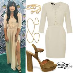 Bea Miller arrived at the 2016 Teen Choice Awards on Sunday night wearing a longer version of the Elisabetta Franchi Mini Dress with Lacing Motif in Mimosa, Steve Madden Kierra Sandals ($99.95) in Olive Nubuck, a Redeemed Cuff ($3,625.00) and Wisdom Ring ($2,695.00) both from Jen Hansen, and a ring from Amanda Marmer (not available online).