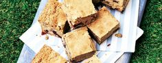 Blondies are like brownies but with a fudgy flavour. This easy recipe makes 16 moist squares that are perfect for a picnic.