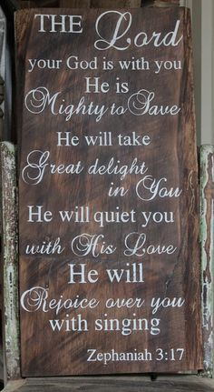 Handpainted Barn Wood with Bible verse sign, rustic, vintage, shabby chic sign with Zachariah 3:17. $40.00, via Etsy.