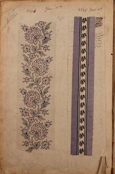 1863 - [French textiles] sample books by the Maison Robert firm, Paris… Textile Patterns, Textile Prints, Textile Design, Embroidery Patterns, Fabric Design, Pattern Design, Print Patterns, Floral Patterns, Lino Prints