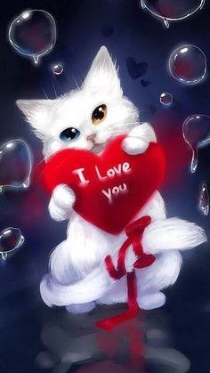 I love you my cat - Peinture diamant - Diamond painting Butterfly Wallpaper, Cat Wallpaper, Cute Animal Drawings, Cute Drawings, New Good Night Images, Good Night Prayer, Love You Gif, I Love You Images, My Love