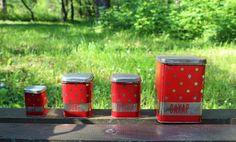 Soviet Polka Dot Tin Containers - Rustic Kitchen Canisters - Vintage Tin Containers set of 4 - Tin Boxes - Tea Tin - Polka Dot Kitchen Decor