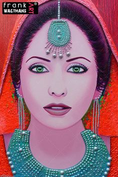 Colourful portrait painting of an Indian bride 'Indian Summer'. Large, bohemian painting on canvas. Handcrafted and colorful portraits, India paintings!