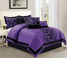 7 Pc Purple Black Luxury Flocking Comforter Set Queen Size
