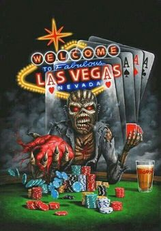 Eddie in Vegas Music Artwork, Metal Artwork, Art Music, Iron Maiden Cover, Iron Maiden Band, Hard Rock, Heavy Metal, Rock N Roll, Iron Maiden Mascot