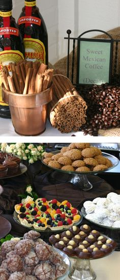 Mexican coffee station....hmmm cinco de mayo party Mexican Dishes, Mexican Food Recipes, Buffet Table Settings, Coffee Around The World, Wedding Food Stations, Mexico Food, Mexican Party, Food N, Food Dishes