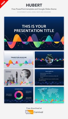 Amaze your audience with this free presentation template. The dark blue background with wavy shapes resembles sound waves and gives dynamism to the slides. Download this theme to make a presentation about music, festivals, sound design or dance. Make A Presentation, Presentation Templates, Dark Blue Background, Some Text, Sound Design, Music Festivals, Sound Waves, Shapes, Dance