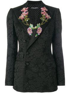 Dolce & Gabbana Embellished Floral-embroidered Jacquard Jacket In Black Balmain Blazer, Formal Jacket, Sequin Blazer, Sequin Jacket, Masculine Style, Printed Blazer, Embroidered Jacket, Look Chic, Jackets For Women