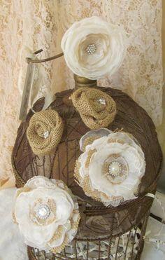 Burlap Wedding Cake Fabric Flowers Set of 5