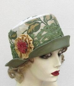 Ladies Vintage Style Bucket Hat in a Botanical Print / Hats by Gail