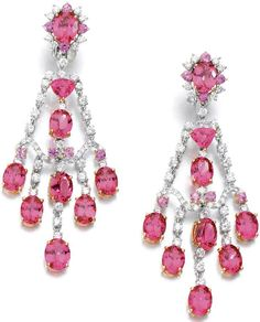 PAIR OF SPINEL, PINK SAPPHIRE AND DIAMOND EAR PENDANTS, MICHAEL YOUSSOUFIAN.   Each of chandelier design set with oval and triangular shaped spinels, accented with circular-cut pink sapphires and brilliant-cut diamonds, clip and collapsible post fittings, maker's marks and numbered, case M.Y.Fine Jewellery.