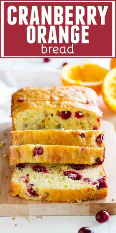 Tart cranberries and sweet orange juice combine to make this Cranberry Orange Bread that is perfect for breakfast or brunch, or even for dessert! This is the perfect quick bread for the Christmas season.