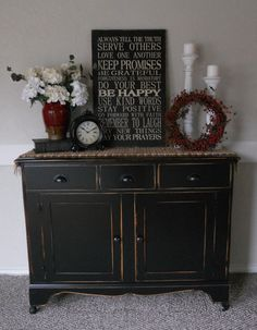 {createinspire}: Black Buffet (My living room stereo cabinet) Black Painted Furniture, Distressed Furniture, Repurposed Furniture, Furniture Makeover, Diy Furniture, Painting Furniture, Cool Ideas, Country Decor, Home Projects