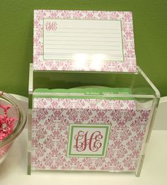 Personalized Acrylic Recipe Box Set. This has been a best-selling item for years and continues to be a hit with our customers. They make perfect gifts for bridal showers, teachers, housewarming, and more!