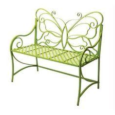 Lime Green Butterfly Garden Bench Iron Citron 39-3/4 X 20 X 35-1/2