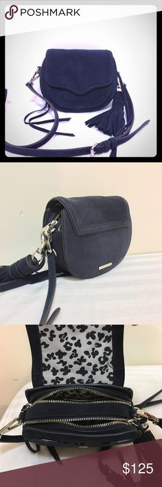 """Rebecca Minkoff Mini Sydney Suede Crossbody, Blue New without tags, never worn or used. Excellent condition! Does not include dust bag. Originally $245+tax. 6.5""""W x 6""""H x 2.5""""D Genuine suede leather 38"""" inch adjustable crossbody strap drop. Custom silver tone hardware. Main saddle bag has snap closure. Two main zip compartments. One interior slip pocket, exterior skip pocket underneath flap. Custom print lining + blue dust bag. Removable tassel can be clipped onto another bag or keychain…"""