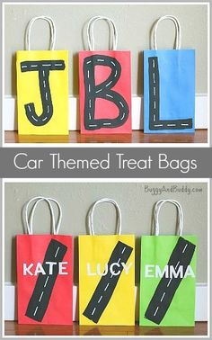 Easy DIY car themed treat bags for a car birthday party! ~ http://BuggyandBuddy.com