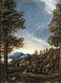 Paisaje del Danubio con el Castillo de Wörth (1520-25), por Albrecht Altdorfer, Alte Pinakothek, Múnich.