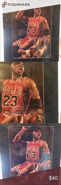 "Matted Michael Jordan Artist Print Matted Michael Jordan Artist Print. This is an artist rendering of one of Michael Jordan's most famous plays on Knick great Patrick Ewing. This is still in the Plastic in perfect condition. I've had this for a number of years deciding if I can part with it. Can be framed, the dimensions are 20"" by 16"". Great piece for a sport lover in the office or man cave. Thanks for viewing! Check out my other items and ask about bundling! Other"