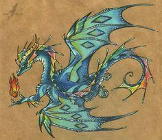 Rainbow dragon - tattoo design by AlviaAlcedo.deviantart.com on @deviantART