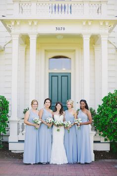 Baby blue bridesmaids | Read More: http://www.stylemepretty.com/california-weddings/2014/08/11/intimate-rustic-garden-wedding-at-rengstorff-house/ | Photography: Closer To Love Photography - www.closertoloveblog.com/