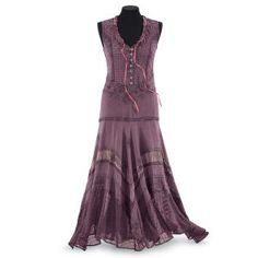 """Rose Embroidered Dress  Exclusive! Love in Bloom. Dusty rose, deep yet subtle, blooms in the details of this exquisite design. Acid-washed, the dress is embroidered all over, from its pink ribboned neckline and antiqued, button-front bodice, to the tiered, handkerchief hem. 100% rayon. Machine washable. Imported. Sizes: XS (2-4), S (6-8), M (10-12), L (14-16), XL (18), 1X (18W-20W), 2X (22W-24W), 3X (26W-28W); 52""""-56"""" long."""