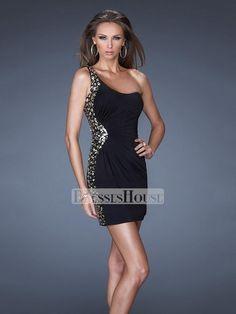 One Shoulder Asymmetrical Neckline Sequins Stones Short Prom Dress PD11538