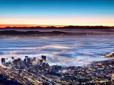 Would be an amazing sight to witness a sunrise in this manner! - Pinned by Mak Khalaf Would be an amazing sight to witness a sunrise in this manner! Fine Art by cgmostert Seattle Skyline, New York Skyline, Before Sunrise, Most Beautiful Cities, Cape Town, South Africa, Amazing, Awesome, City