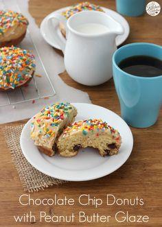 Baked Chocolate Chip Donuts with Peanut Butter Glaze Recipe from A Kitchen Addiction