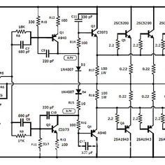 100w subwoofer amplifier circuit diagram kazuma quad wiring power 400 watt using ic741 and mj2955 3055 in 2019 برد 1000w stereo audio with transistor 2sc5200 2sa1943