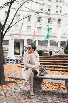 Shades of Gray :: Faux fur coat & Suede boots
