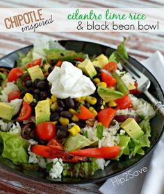 Chipotle-Inspired Cilantro Lime & Black Bean Bowl