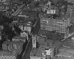 ca. 1925)^ - Panoramic view of the Civic Center in the 1920s, looking north from First and Broadway, with the old Los Angeles Times building in the foreground and the Hall of Records and old County Courthouse beyond.