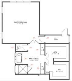Master Suite Floor Plan, Master Suite Layout, Master Bedroom Plans, Master Bathroom, Bedroom Addition Plans, Master Bedroom Addition, Bathroom Floor Plans, House Floor Plans, Floor Plan Layout