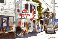 """This fine art print of a street scene is from a watercolor painting. The art depicts Commercial Street, the main drag in Provincetown, MA. The Lobster Pot is a very famous spot in town known to the Cape Cod tourists and locals. This charming seascape artwork would be great for anyone who has fond summer memories of that beach town or dreams of going. The abstract landscape is finished with an 11x14"""" mat to fit into a standard frame. offered by mimistudio aka schulmanArt @Etsy"""