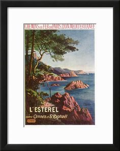 France - View of the Esterel Mountains from Both Cannes and Saint-Raphael, Plm Railways, c.1920 Art Print by Lantern Press at Art.com